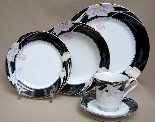Make sure your browser can show photos and reload this page to see Mikasa China Charisma L9050/UP Place setting 5-piece  (black) comes with salad and soup bowl