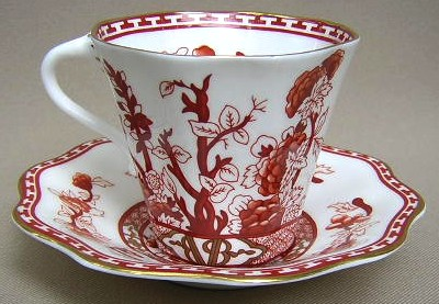 Make sure your browser can show photos and reload this page to see Coalport China Indian Tree - Coral, Scalloped, Gold Trim  Cup and saucer set