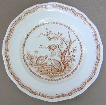 Make sure your browser can show photos and reload this page to see Furnival Stoneware Quail-Brown  Salad plate has a flaw