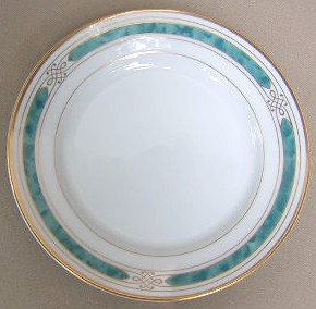 Make sure your browser can show photos and reload this page to see Gorham China Regalia Court - Teal Bread and butter plate 6 1/2
