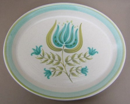 Make sure your browser can show photos and reload this page to see Franciscan China Tulip Time Platter, medium 13 7/8