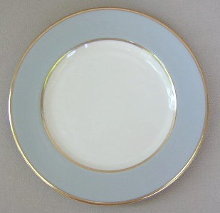 Make sure your browser can show photos and reload this page to see Flintridge China Sylvan - Gray Rim, Gold Trim, Rim Bread and butter plate