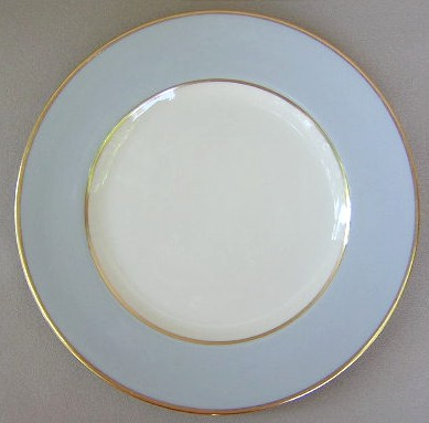Make sure your browser can show photos and reload this page to see Flintridge China Sylvan - Gray Rim, Gold Trim, Rim Salad plate