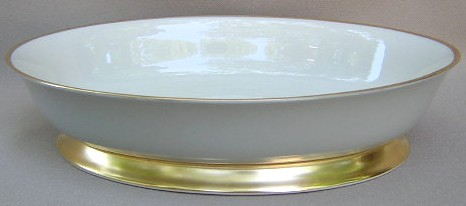 Make sure your browser can show photos and reload this page to see Flintridge China Sylvan - Gray Rim, Gold Trim, Rim Oval vegetable footed