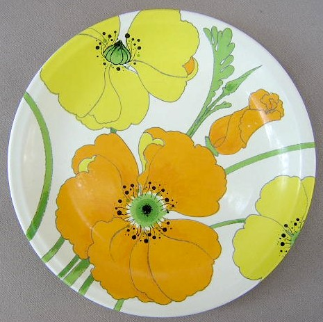 Make sure your browser can show photos and reload this page to see Metlox-Poppytrail-Vernon Pottery Wild Poppy Bread and butter plate  6 3/4