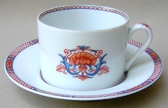 Make sure your browser can show photos and reload this page to see Fitz & Floyd China Regency Cup and saucer set 3