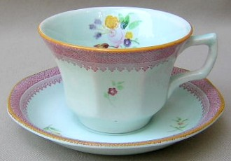 Make sure your browser can show photos and reload this page to see Adams China Lowestoft 2087  Cup and saucer set 2 5/8