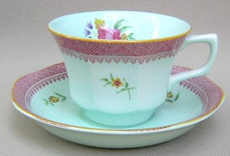 Make sure your browser can show photos and reload this page to see Adams China Lowestoft  Cup and saucer set (newer backstamp); 3 3/4