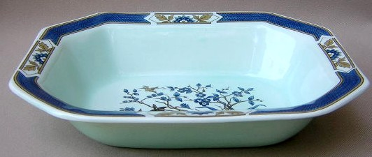 Make sure your browser can show photos and reload this page to see Adams China Ming Toi - Blue Oval vegetable octagonal 9 3/4