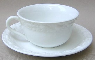Make sure your browser can show photos and reload this page to see Adams China Della Robia - White Cup and saucer set 3 5/8