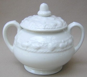 Make sure your browser can show photos and reload this page to see Adams China Della Robia - White Sugar bowl with lid