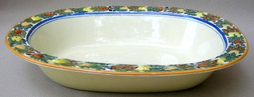 Make sure your browser can show photos and reload this page to see Adams China Della Robia - Multicolor on Cream Oval vegetable 9 1/4Ó