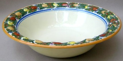 Make sure your browser can show photos and reload this page to see Adams China Della Robia - Multicolor on Cream Round vegetable  9