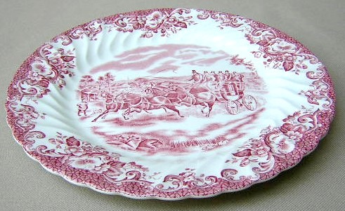 Make sure your browser can show photos and reload this page to see Johnson Brothers Dinnerware  Coaching Scenes Luncheon plate pink