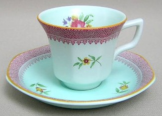 Make sure your browser can show photos and reload this page to see Adams China Lowestoft  Demitasse cup and saucer 2 3/4