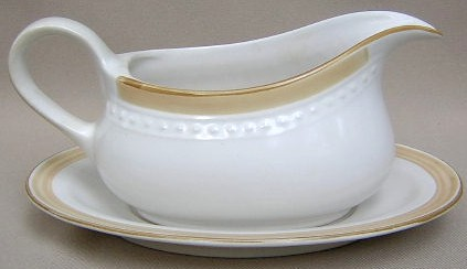 Make sure your browser can show photos and reload this page to see Johann Haviland China Golden Band  Gravy -separate stand (Beige bands) Crowning Fashion