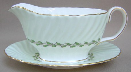 Make sure your browser can show photos and reload this page to see Minton China Cheviot - Green S503 Gravy-attached stand