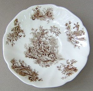 Make sure your browser can show photos and reload this page to see Johnson Brothers Dinnerware  Past. Toile De Jouy Saucer only brown 5 5/8