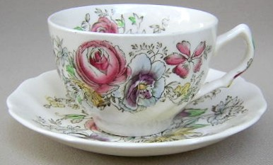 Make sure your browser can show photos and reload this page to see Johnson Brothers Dinnerware  Sheraton Cup and saucer set 3 1/2