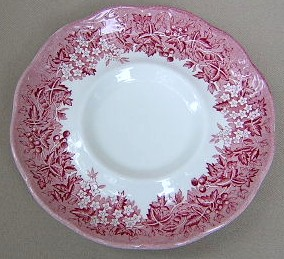 Make sure your browser can show photos and reload this page to see Meakin, J. & G. Dinnerware Romantic England - Red, Cream Background Saucer only 5 3/4