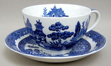 Make sure your browser can show photos and reload this page to see Johnson Brothers Dinnerware  Willow Cup and saucer set (blue) 3 3/4