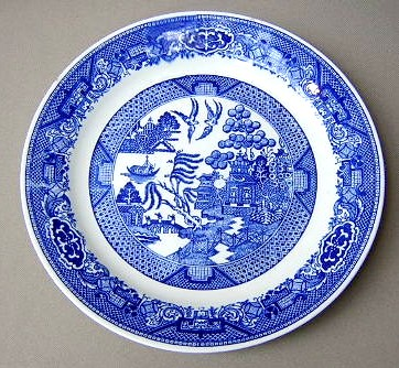 Make sure your browser can show photos and reload this page to see Royal (USA) Dinnerware Blue Willow Luncheon plate 9 1/8