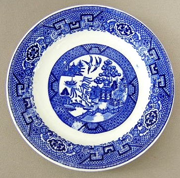 Make sure your browser can show photos and reload this page to see Homer Laughlin Co. Dinnerware Blue Willow Bread and butter plate 6 1/4