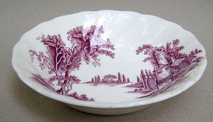Make sure your browser can show photos and reload this page to see Johnson Brothers Dinnerware  Old Mill, The Fruit/dessert bowl lavender/purple 5 1/8