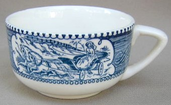 Make sure your browser can show photos and reload this page to see Royal (USA) Dinnerware Currier & Ives - Blue Cup only (no saucer) 3 3/8