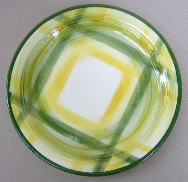 Make sure your browser can show photos and reload this page to see Metlox-Poppytrail-Vernon Pottery Gingham Bread and butter plate 6 1/4