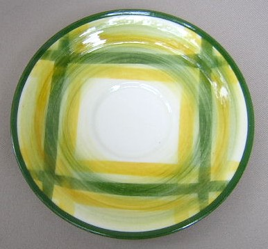 Make sure your browser can show photos and reload this page to see Metlox-Poppytrail-Vernon Pottery Gingham Saucer only 6 3/8
