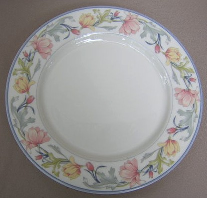 Make sure your browser can show photos and reload this page to see Gorham China Ashley Dinner plate 10 5/8