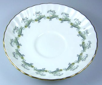 Make sure your browser can show photos and reload this page to see Minton China Ermine S694 Saucer only 5 5/8
