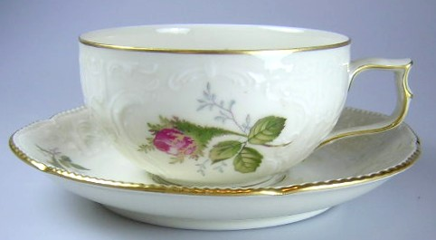Make sure your browser can show photos and reload this page to see Rosenthal - Continental China Moss Rose - Ivory - Sansoucci Cup and saucer set  2