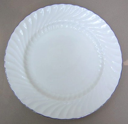 Make sure your browser can show photos and reload this page to see Aynsley & Sons Purity Dinner plate scratched 10 1/2