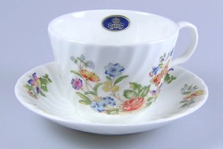 Make sure your browser can show photos and reload this page to see Aynsley & Sons Cottage Garden (Swirl) Cup and saucer set 3 1/2