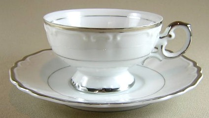 Make sure your browser can show photos and reload this page to see Harmony House China Silver Sonata 3639 Cup and saucer set 2 1/4