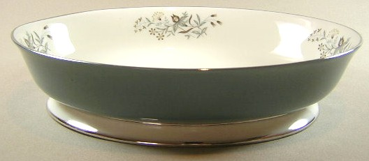 Make sure your browser can show photos and reload this page to see Flintridge China Woodsong - Peacock Band, Platinum Trim, Coupe Oval vegetable 9 3/4