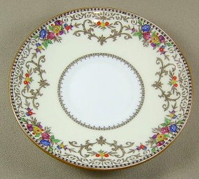 Make sure your browser can show photos and reload this page to see Minton China Shaftesbury B1222 Saucer only tan trim; 5 3/8'