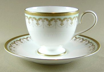 Make sure your browser can show photos and reload this page to see Nikko Dinnerware Corinthian 848 Cup and saucer set 2 7/8' H X 3 3/8