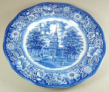 Make sure your browser can show photos and reload this page to see Staffordshire China Liberty Blue Dinner plate 9 3/8