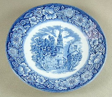 Make sure your browser can show photos and reload this page to see Staffordshire China Liberty Blue Saucer only 5 5/8