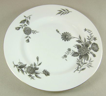 Make sure your browser can show photos and reload this page to see Pickard China Diana - Gray 1058 Salad plate 8 1/4