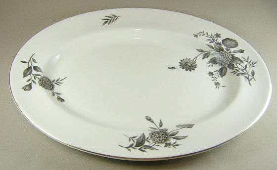 Make sure your browser can show photos and reload this page to see Pickard China Diana - Gray 1058 Platter, large 15 1/4