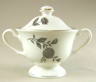 Make sure your browser can show photos and reload this page to see Pickard China Diana - Gray 1058 Sugar bowl with lid