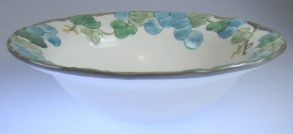 Make sure your browser can show photos and reload this page to see Metlox-Poppytrail-Vernon Pottery Sculptured Grape - Matte Cereal bowl  7 1/4