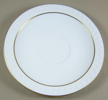 Make sure your browser can show photos and reload this page to see Corning China Sculptured Rim - Pyroceram, Gold Trim Saucer only
