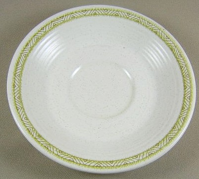 Make sure your browser can show photos and reload this page to see Franciscan China Hacienda - Green  Saucer only 6 1/4