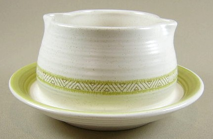 Make sure your browser can show photos and reload this page to see Franciscan China Hacienda - Green  Gravy-attached stand