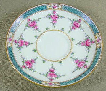 Make sure your browser can show photos and reload this page to see Minton China Persian Rose B838 Boullion saucer (no cup) 5 3/4